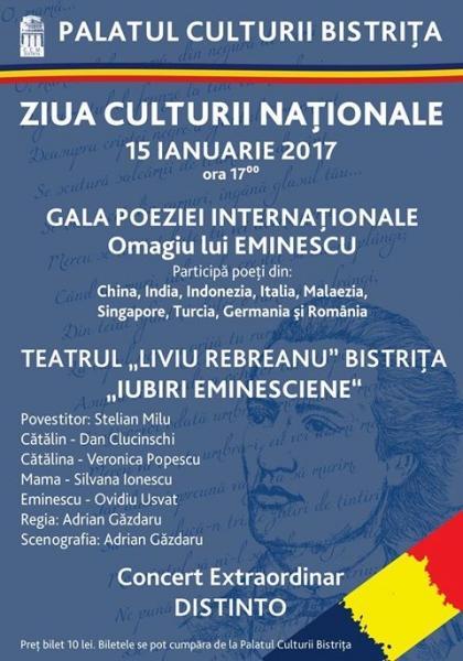 ZIUA CULTURII NAȚIONALE, SĂRBĂTORITĂ ÎN 15 IANUARIE LA PALATUL CULTURII