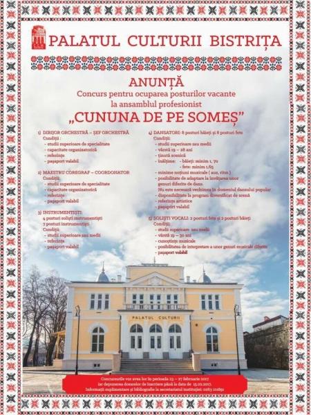PALATUL CULTURII ANUNȚĂ CONCURS PENTRU OCUPAREA POSTURILOR VACANTE