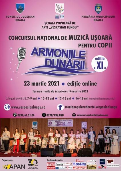 """""""ARMONIILE DUNĂRII"""" - CONCURS NAȚIONAL DE MUZICĂ UȘOARĂ PENTRU COPII"""