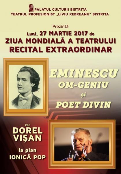 DOREL VIȘAN REVINE LA BISTRIȚA ÎN 27 MARTIE - DE ZIUA MONDIALĂ A TEATRULUI!