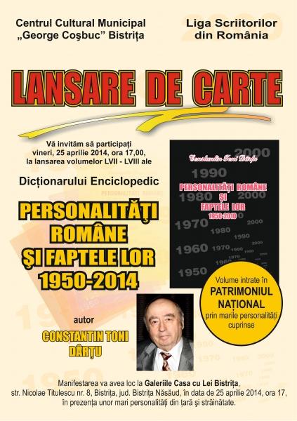 LANSARE DE CARTE, VINERI, 25 APRILIE, LA BISTRIȚA!