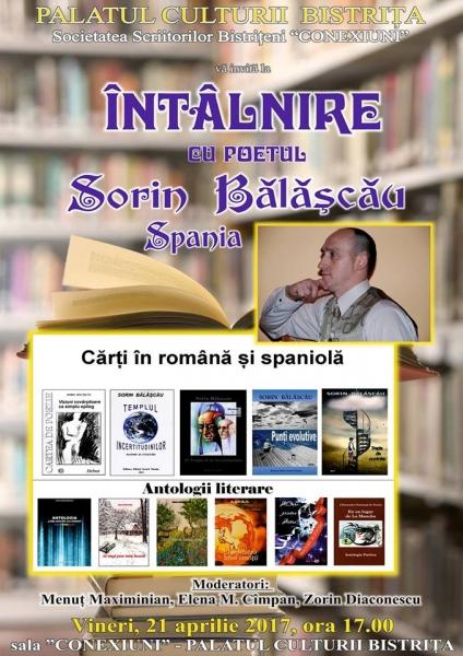 """SOCIETATEA SCRIITORILOR BISTRIȚENI """"CONEXIUNI"""": ÎNTÂLNIRE CU POETUL SORIN BĂLĂȘCĂU - SPANIA"""