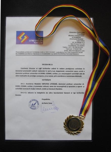 DOREL  COSMA distins cu MEDALIA LIGII SCRIITORILOR DIN ROMÂNIA