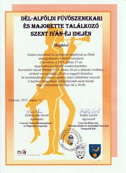 INVITAȚIE VENITĂ DIN UNGARIA PENTRU CENTRUL CULTURAL MUNICIPAL
