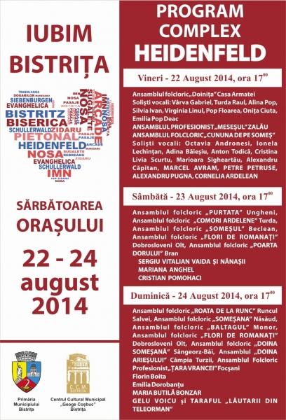 ZILELE MUNICIPIULUI BISTRIȚA 2014 - PROGRAMUL COMPLET DIN CADRUL COMPLEXULUI HEIDENFELD!
