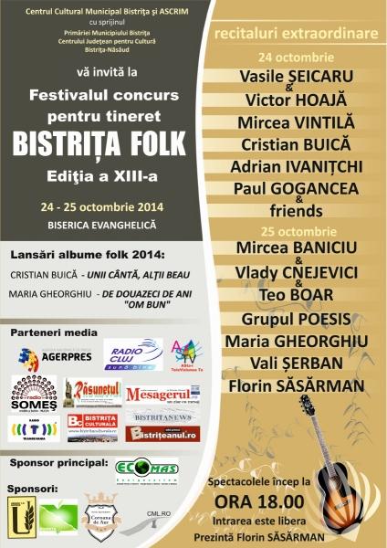 FESTIVALUL CONCURS PENTRU TINERET, BISTRIŢA FOLK 2014 !