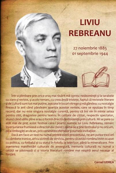 """CORNEL UDREA DESPRE FESTIVALUL INTERNAȚIONAL DE TEATRU ȘI LITERATURĂ """"LIVIU REBREANU""""  !"""