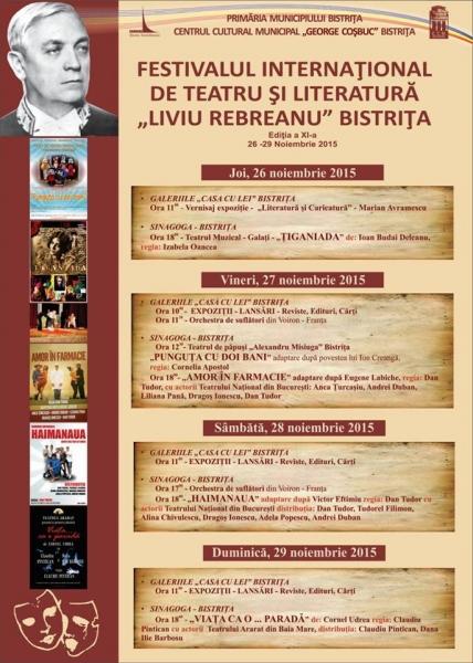 """ASTĂZI LA FESTIVALUL INTERNAȚIONAL DE TEATRU ȘI LITERATURĂ """"LIVIU REBREANU"""""""