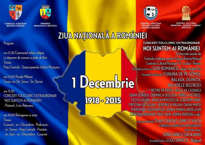 PARADĂ MILITARĂ, SPECTACOL DE FOLCLOR ȘI RETRAGERE CU TORȚE, DE 1 DECEMBRIE LA BISTRIȚA