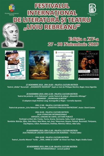 """30 NOIEMBRIE 2019 - ULTIMA ZI A FESTIVALULUI INTERNAȚIONAL DE LITERATURĂ ȘI TEATRU """"LIVIU REBREANU"""" BISTRIȚA, ROMÂNIA"""
