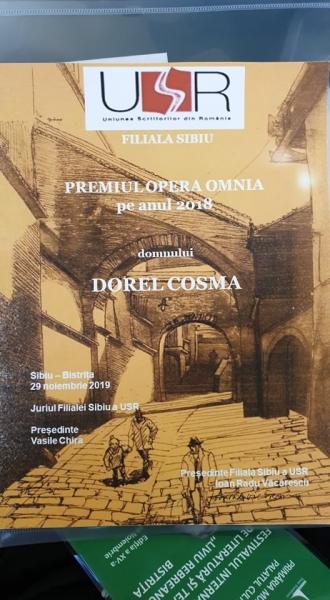 """FESTIVALUL INTERNAȚIONAL DE LITERATURĂ ȘI TEATRU """"LIVIU REBREANU"""", SUB SEMNUL ARTEI INTERNAȚIONALE! DOREL COSMA A PRIMIT PREMIUL OPERA OMNIA AL UNIUNII SCRIITORILOR DIN ROMÂNIA, FILIALA SIBIU"""